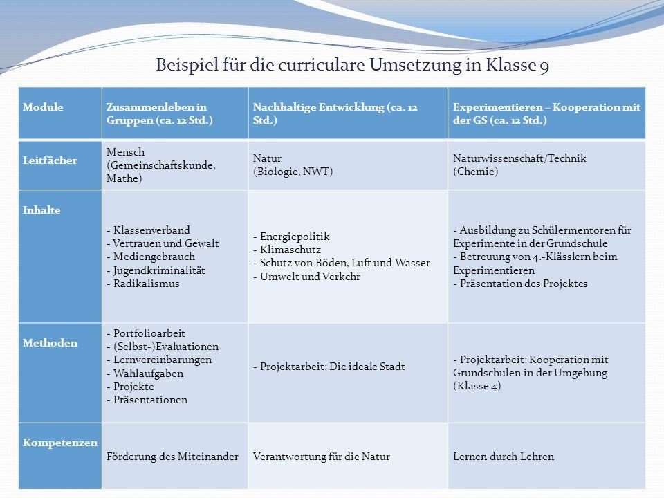 Module Zusammenleben in Gruppen (ca.12 Std.) Nachhaltige Entwicklung (ca.