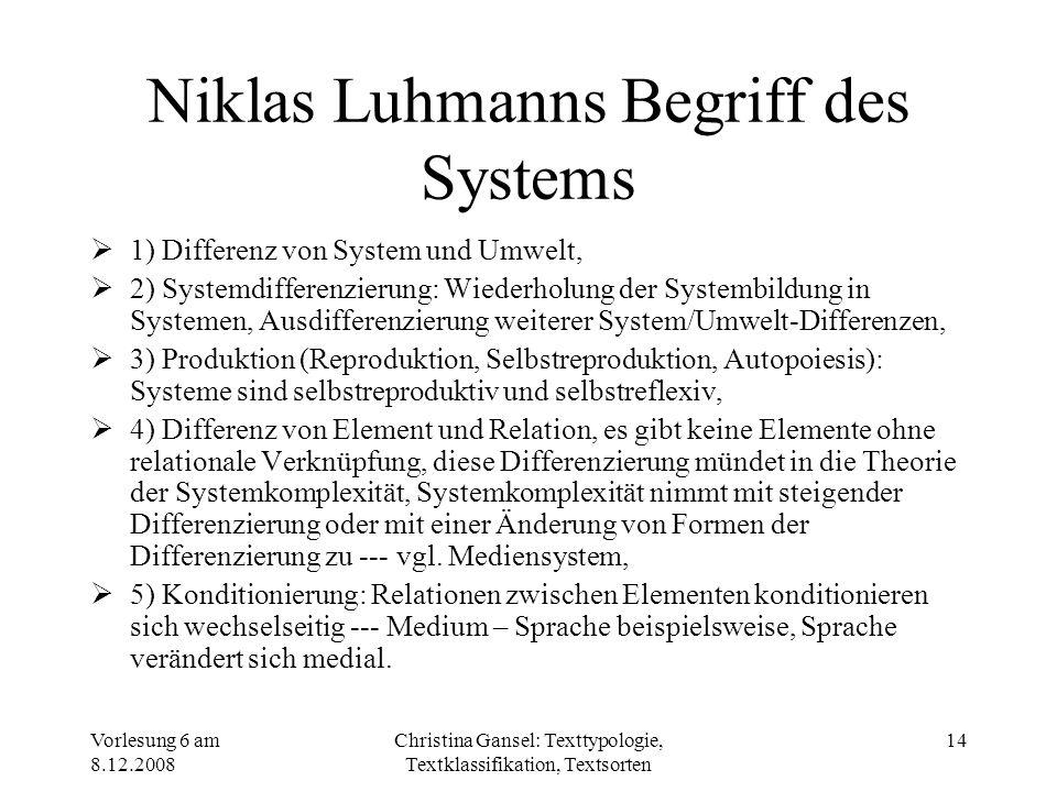 Vorlesung 6 am 8.12.2008 Christina Gansel: Texttypologie, Textklassifikation, Textsorten 14 Niklas Luhmanns Begriff des Systems 1) Differenz von Syste