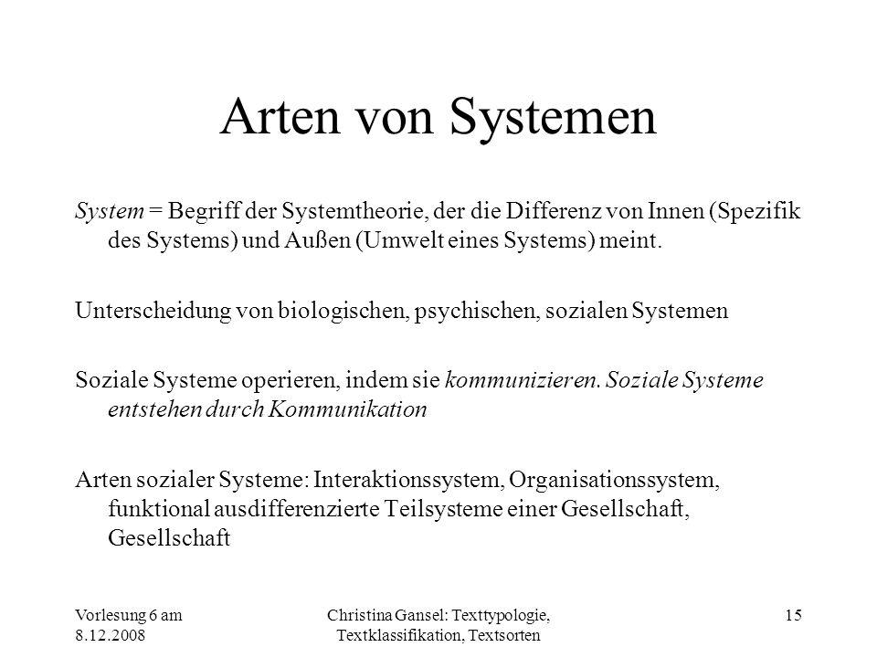 Vorlesung 6 am 8.12.2008 Christina Gansel: Texttypologie, Textklassifikation, Textsorten 15 Arten von Systemen System = Begriff der Systemtheorie, der