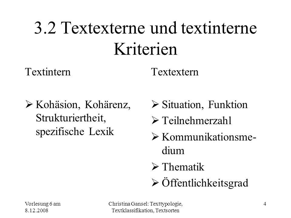 Vorlesung 6 am 8.12.2008 Christina Gansel: Texttypologie, Textklassifikation, Textsorten 5 3.3 Deduktive und induktive Ermittlung von Textsorten Deduktiv – theoretisch begründet Induktiv – empirisch begründet