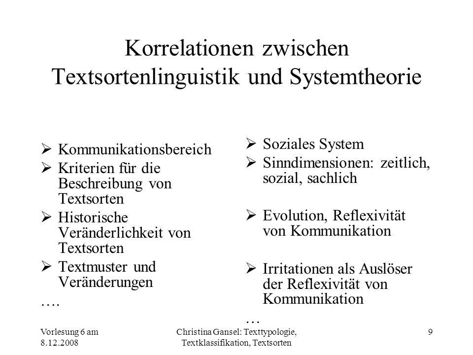 Vorlesung 6 am 8.12.2008 Christina Gansel: Texttypologie, Textklassifikation, Textsorten 9 Korrelationen zwischen Textsortenlinguistik und Systemtheor