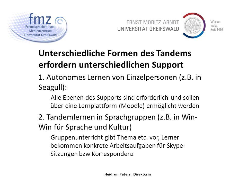 Heidrun Peters, Direktorin Unterschiedliche Formen des Tandems erfordern unterschiedlichen Support 1.