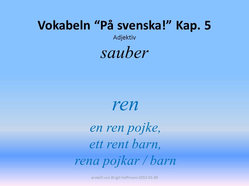 Vokabeln På svenska! Kap. 5 Adjektiv sauber ren en ren pojke, ett rent barn, rena pojkar / barn erstellt von Birgit Hoffmann 2013-01-09