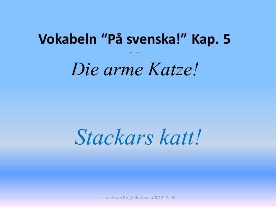 Vokabeln På svenska! Kap. 5 ----- Die arme Katze! Stackars katt! erstellt von Birgit Hoffmann 2013-01-09