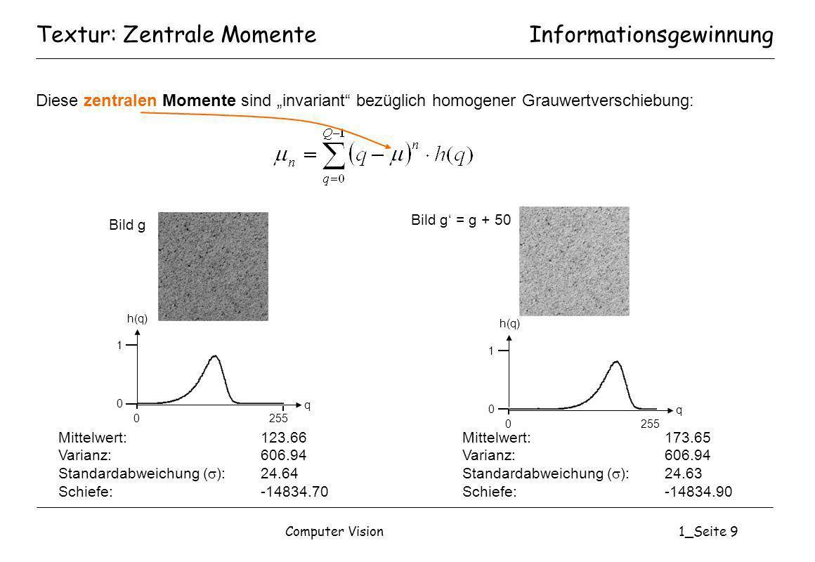 Computer Vision1_Seite 10 Textur: Zentrale Momente Mittelwert:123.66 Varianz:606.94 Schiefe:-14834.70 << 0 Mittelwert:111.28 Varianz:1394.38 Schiefe:8561.81 >> 0 Mittelwert:127.48 Varianz:100.37 Schiefe:-12.08 0 Informationsgewinnung 0 255 h(q) 1 0 q 0 255 h(q) 1 0 q 0 255 h(q) 1 0 q g(x,y) = 128 + 10 s(x,y) s(x,y) ~ N(1,0)