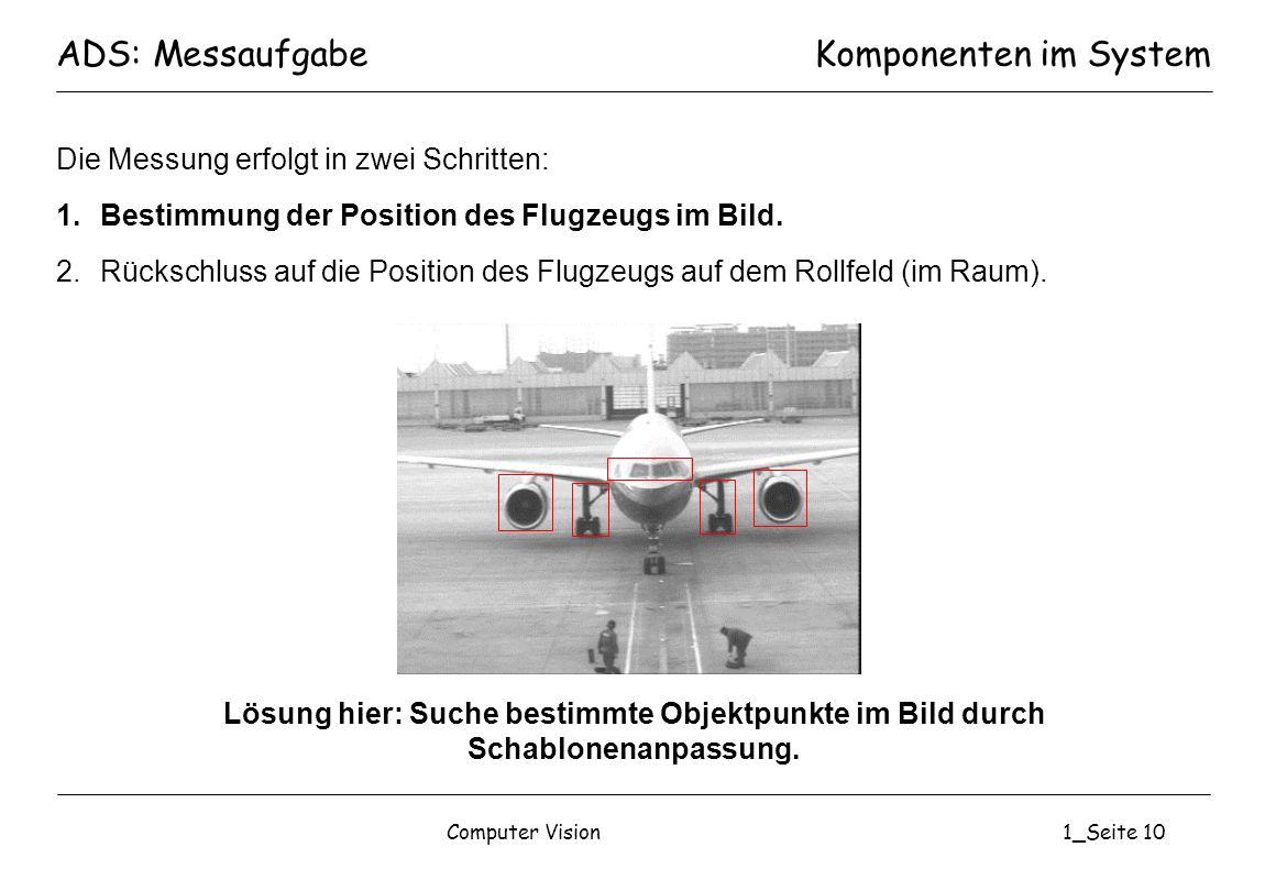 Computer Vision1_Seite 10 Die Messung erfolgt in zwei Schritten: 1.Bestimmung der Position des Flugzeugs im Bild. 2.Rückschluss auf die Position des F