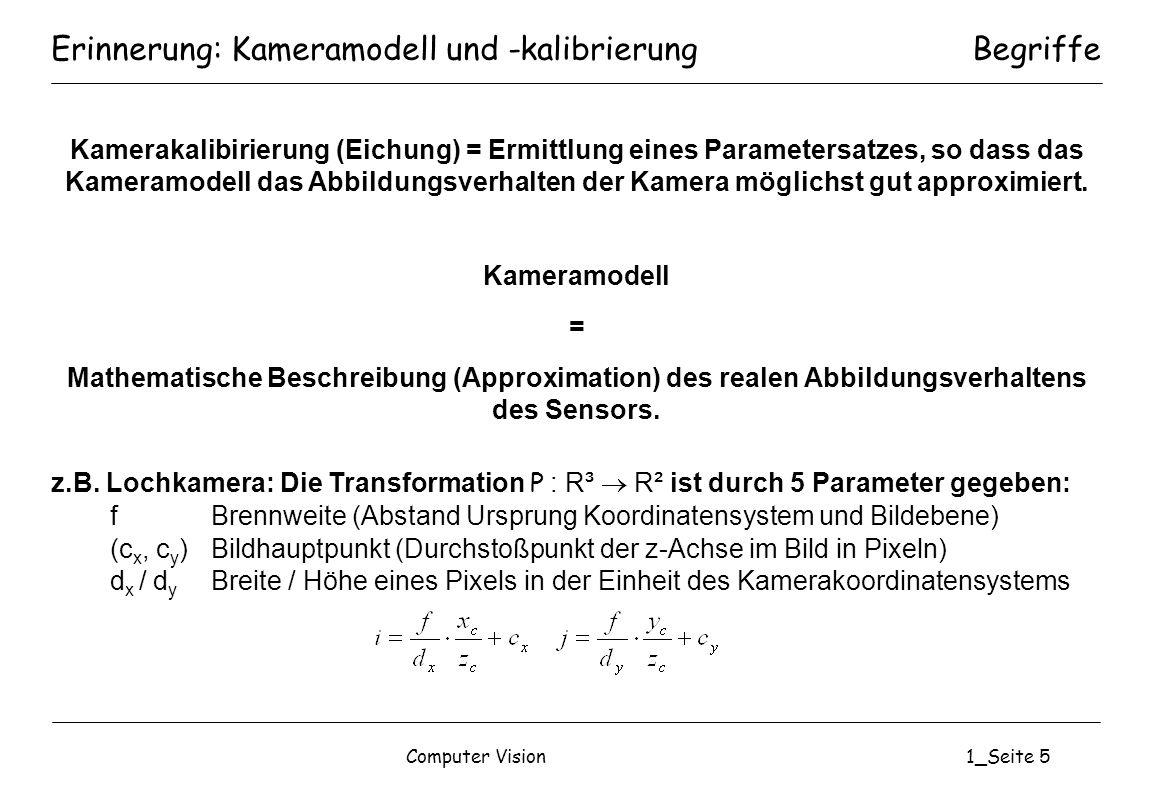 Computer Vision1_Seite 5 Erinnerung: Kameramodell und -kalibrierung Kamerakalibirierung (Eichung) = Ermittlung eines Parametersatzes, so dass das Kame