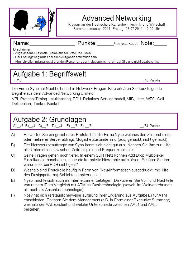 Advanced Networking Klausur an der Hochschule Karlsruhe - Technik und Wirtschaft Sommersemester 2011, Freitag, 08.07.2011, 10:00 Uhr Name: ___________________ Punkte: ______ / 100 (40 zum Bestehen) Note:____ Disclaimer: - Zugelassene Hilfsmittel: keine ausser Stifte und Lineal - Der Lösungsweg muss bei allen Aufgaben ersichtlich sein - Ähnlichkeiten mit real existierenden Personen oder Instutionen sind rein zufällig und nicht beabsichtigt Aufgabe 1: Begriffswelt __/10__/10 Punkte Aufgabe 2: Grundlagen A)__/8 B)__/4 C)__/6 D)__/4 E) __/6 F) __/6__/34 Punkte Die Firma Syno hat Nachholbedarf in Netzwerk-Fragen.
