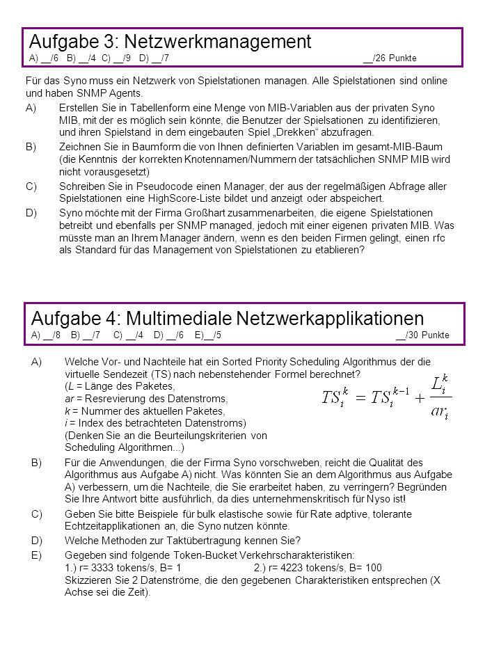 Aufgabe 3: Netzwerkmanagement A) __/6 B) __/4 C) __/9 D) __/7__/26 Punkte Aufgabe 4: Multimediale Netzwerkapplikationen A) __/8 B) __/7 C) __/4 D) __/6 E)__/5 __/30 Punkte Für das Syno muss ein Netzwerk von Spielstationen managen.