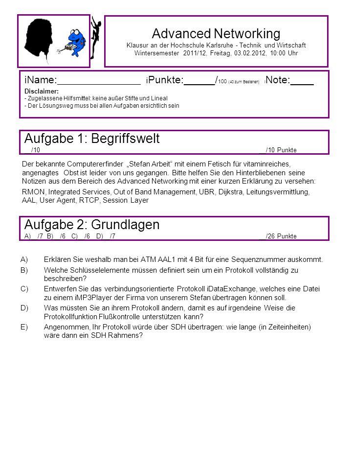 Advanced Networking Klausur an der Hochschule Karlsruhe - Technik und Wirtschaft Wintersemester 2011/12, Freitag, 03.02.2012, 10:00 Uhr iName: ___________________ i Punkte: ______ / 100 (40 zum Bestehen) i Note:____ Disclaimer: - Zugelassene Hilfsmittel: keine außer Stifte und Lineal - Der Lösungsweg muss bei allen Aufgaben ersichtlich sein Aufgabe 1: Begriffswelt __/10__/10 Punkte Aufgabe 2: Grundlagen A)__/7 B)__/6 C)__/6 D)__/7 __/26 Punkte Der bekannte Computererfinder Stefan Arbeit mit einem Fetisch für vitaminreiches, angenagtes Obst ist leider von uns gegangen.