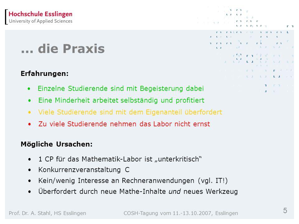 5 Prof. Dr. A. Stahl, HS Esslingen COSH-Tagung vom 11.-13.10.2007, Esslingen... die Praxis Einzelne Studierende sind mit Begeisterung dabei Zu viele S