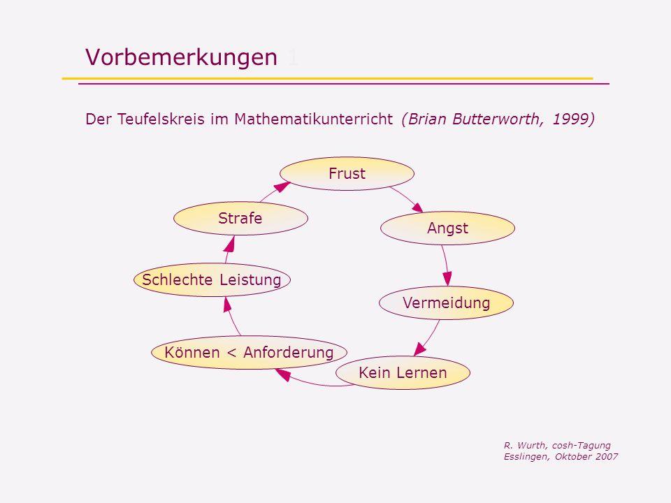 Vorbemerkungen 1 Der Teufelskreis im Mathematikunterricht (Brian Butterworth, 1999) Frust Angst Vermeidung Kein Lernen Können < AnforderungSchlechte Leistung Strafe R.