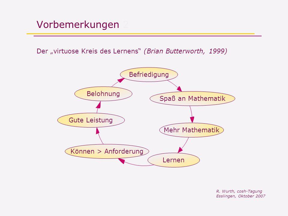 Vorbemerkungen 2 Der virtuose Kreis des Lernens (Brian Butterworth, 1999) Spaß an Mathematik Mehr Mathematik Lernen Können > AnforderungGute LeistungBefriedigungBelohnung R.