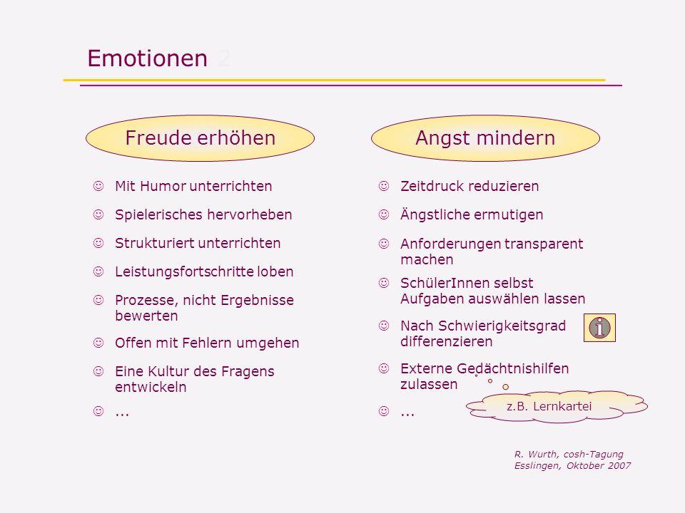 Emotionen 2 Freude erhöhenAngst mindern z.B. Lernkartei R. Wurth, cosh-Tagung Esslingen, Oktober 2007 Prozesse, nicht Ergebnisse bewerten Mit Humor un