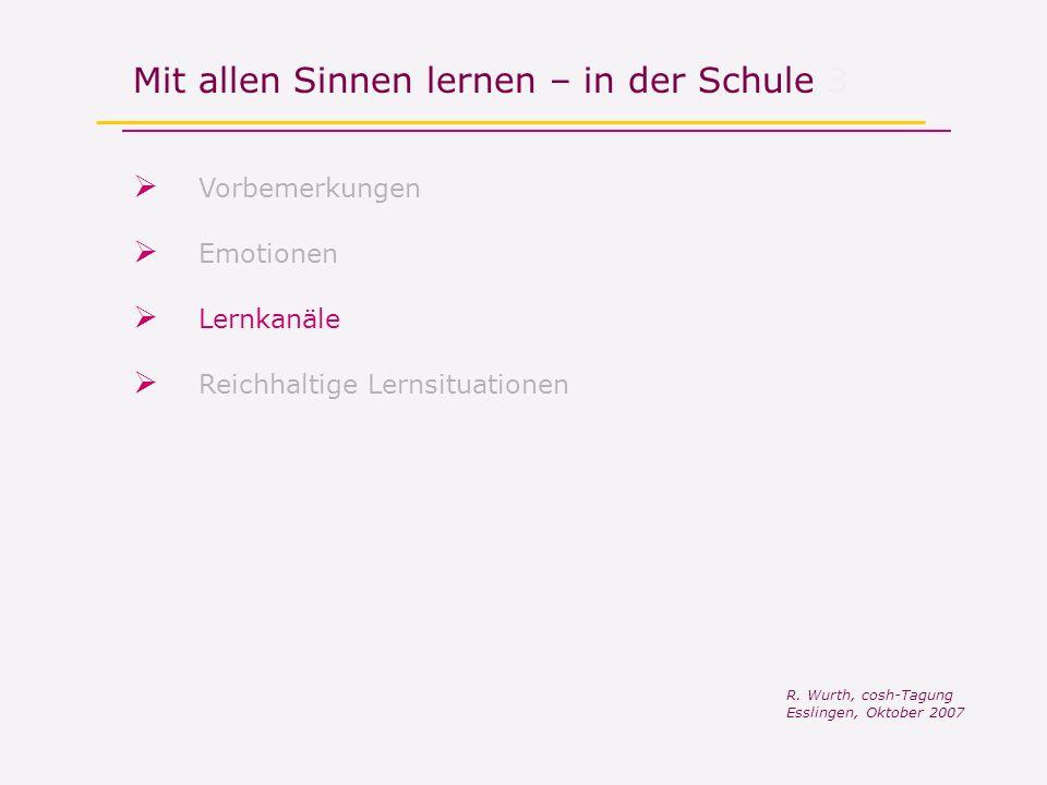 Mit allen Sinnen lernen – in der Schule 3 Vorbemerkungen R. Wurth, cosh-Tagung Esslingen, Oktober 2007 Reichhaltige Lernsituationen Lernkanäle Emotion