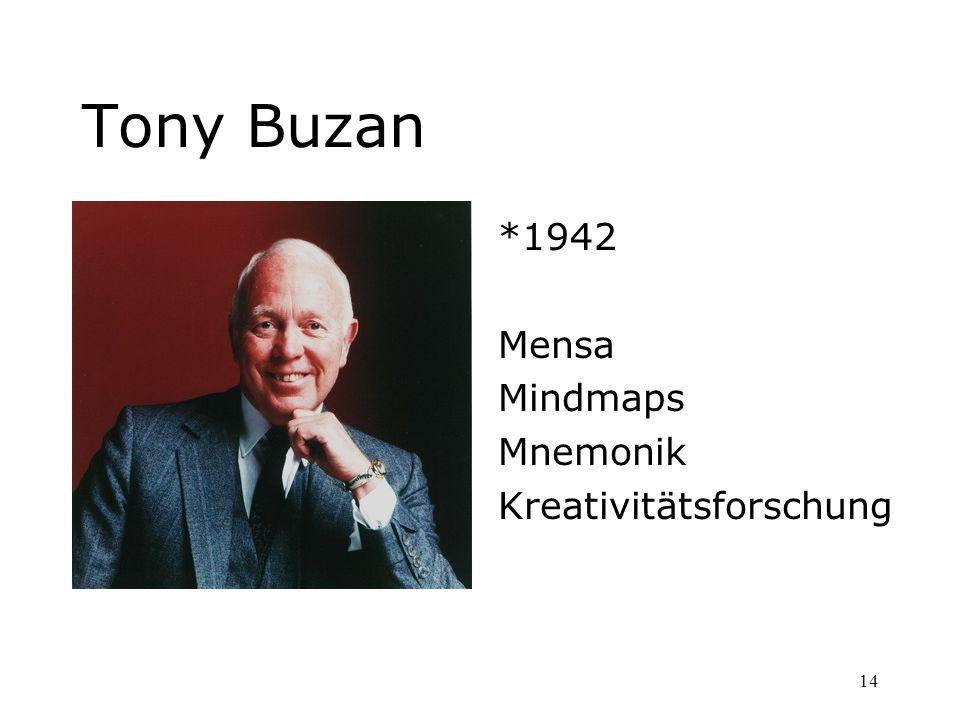 14 Tony Buzan *1942 Mensa Mindmaps Mnemonik Kreativitätsforschung