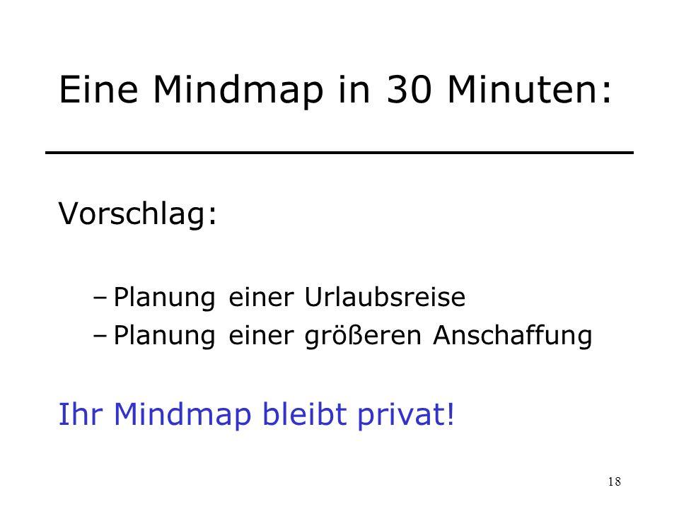 18 Eine Mindmap in 30 Minuten: Vorschlag: –Planung einer Urlaubsreise –Planung einer größeren Anschaffung Ihr Mindmap bleibt privat!