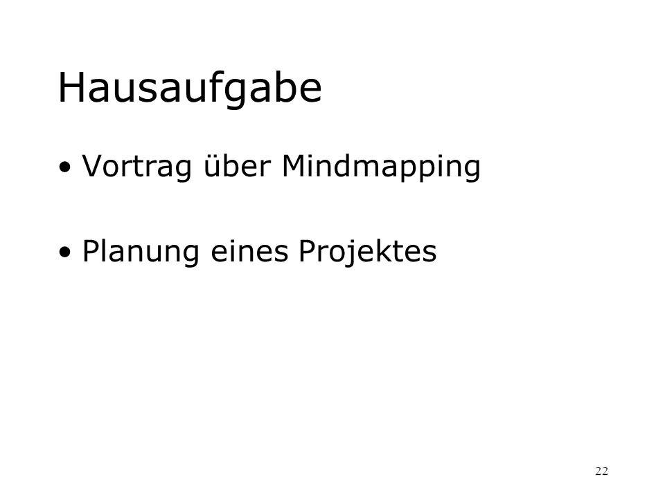 22 Hausaufgabe Vortrag über Mindmapping Planung eines Projektes