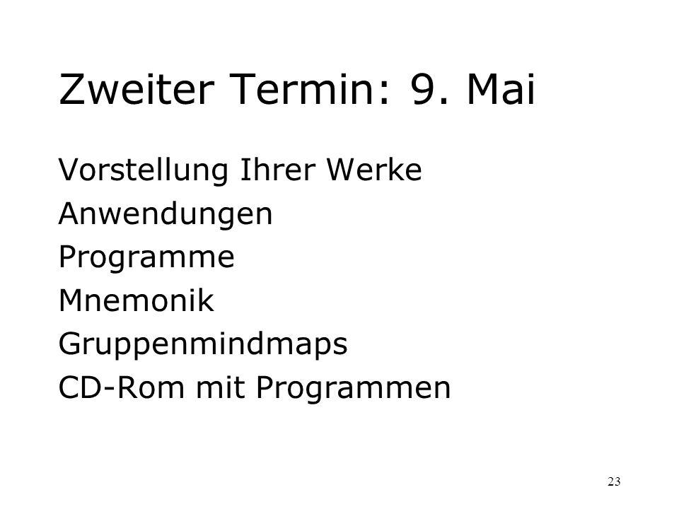 23 Zweiter Termin: 9. Mai Vorstellung Ihrer Werke Anwendungen Programme Mnemonik Gruppenmindmaps CD-Rom mit Programmen