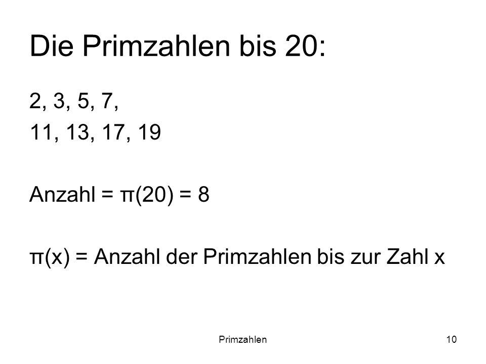 Primzahlen10 Die Primzahlen bis 20: 2, 3, 5, 7, 11, 13, 17, 19 Anzahl = π(20) = 8 π(x) = Anzahl der Primzahlen bis zur Zahl x
