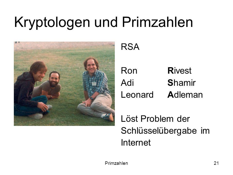 Primzahlen21 Kryptologen und Primzahlen RSA Ron Rivest Adi Shamir Leonard Adleman Löst Problem der Schlüsselübergabe im Internet