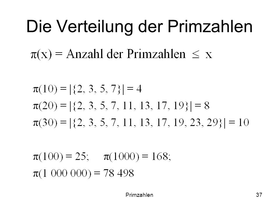 Primzahlen37 Die Verteilung der Primzahlen