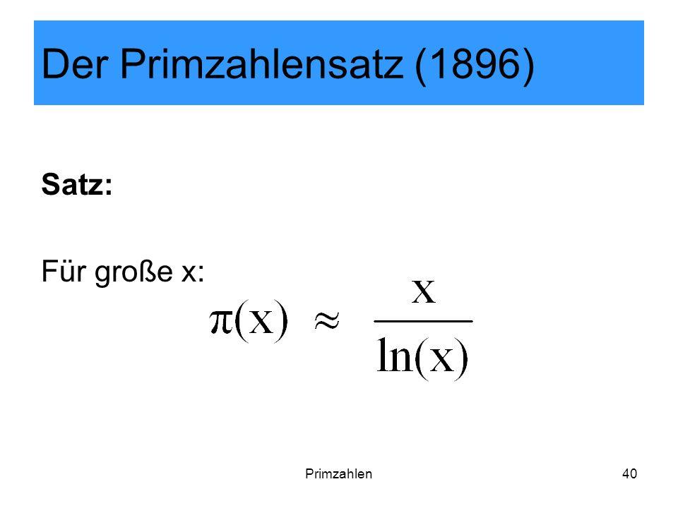 Primzahlen40 Der Primzahlensatz (1896) Satz: Für große x: