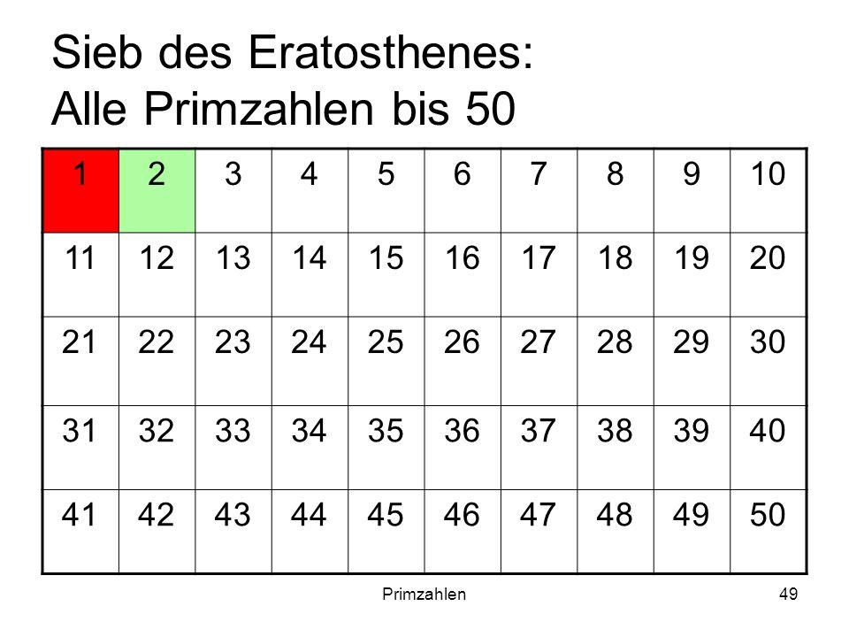 Primzahlen49 Sieb des Eratosthenes: Alle Primzahlen bis 50 12345678910 11121314151617181920 21222324252627282930 31323334353637383940 4142434445464748