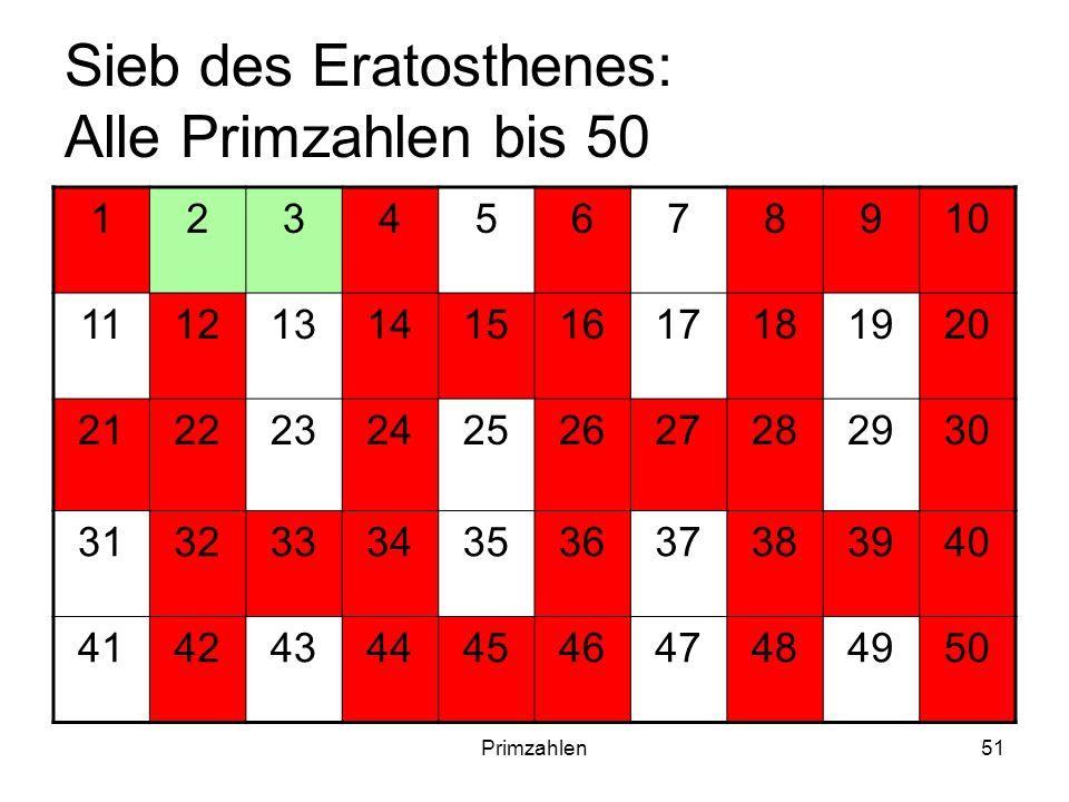 Primzahlen51 Sieb des Eratosthenes: Alle Primzahlen bis 50 12345678910 11121314151617181920 21222324252627282930 31323334353637383940 4142434445464748