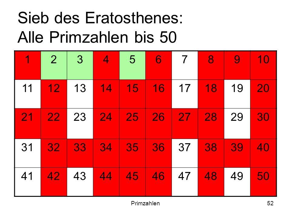 Primzahlen52 Sieb des Eratosthenes: Alle Primzahlen bis 50 12345678910 11121314151617181920 21222324252627282930 31323334353637383940 4142434445464748