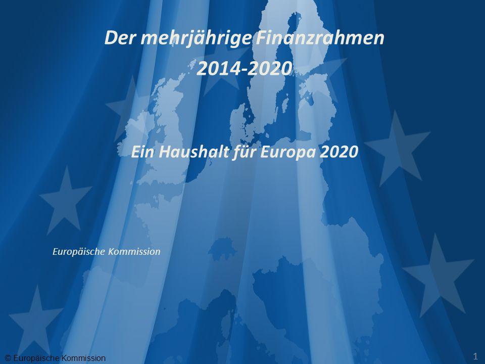 © Europäische Kommission 2 Herausforderungen Lissabonner Vertrag : gestiegene Verantwortung Europa besser vernetzen Instabilität in der Nachbarschaft Konsolidierung der nationalen Haushalte Interventionen zur Stabilisierung des Finanzmarktes Naturkatastrophen MEHR EUROPA FÜR DAS GLEICHE GELD Antworten Neuausrichtung auf die Europa 2020 Strategie Modernisierter Haushalt - Output-orientiert, vereinfacht, konditioniert, größere Hebelwirkung für Investitionen Begrenzt im Umfang, aber neuausgerichtet - Einsparungen in einigen Bereichen - mehr für Zukunftsaufgaben - integrierter Ansatz: Ausgaben bedienen mehrere Ziele gleichzeitig Haushaltsdiszplin, Begrenzung der Verwaltungsausgaben Neue Legitimierung traditioneller Politiken EU Haushalt = Politik in Zahlen