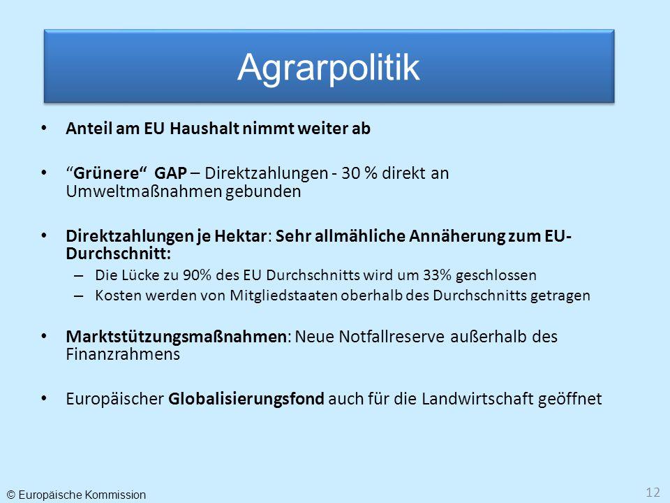 © Europäische Kommission 12 Anteil am EU Haushalt nimmt weiter ab Grünere GAP – Direktzahlungen - 30 % direkt an Umweltmaßnahmen gebunden Direktzahlun