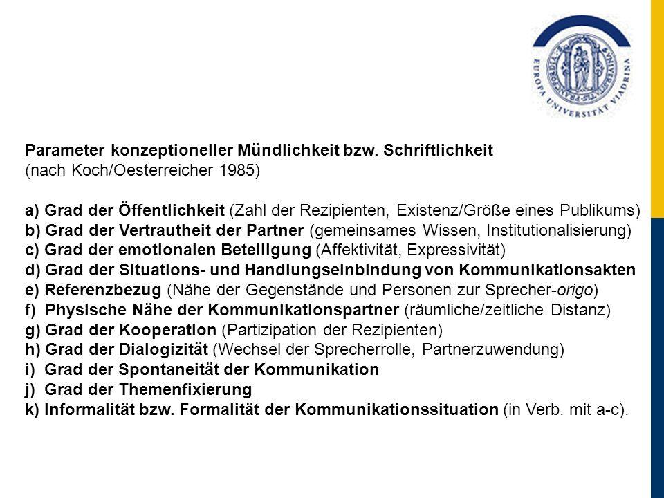 Parameter konzeptioneller Mündlichkeit bzw. Schriftlichkeit (nach Koch/Oesterreicher 1985) a) Grad der Öffentlichkeit (Zahl der Rezipienten, Existenz/