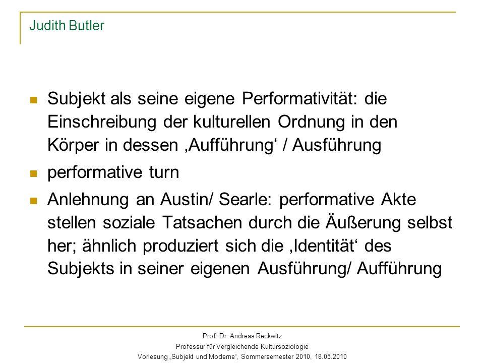 Judith Butler Subjekt als seine eigene Performativität: die Einschreibung der kulturellen Ordnung in den Körper in dessen Aufführung / Ausführung perf
