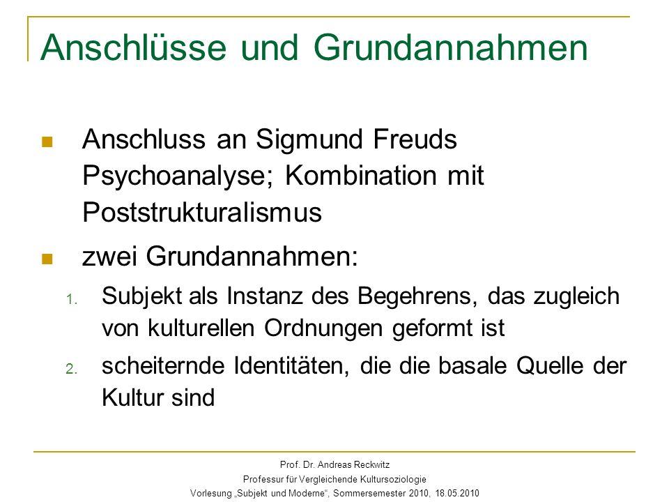Anschlüsse und Grundannahmen Anschluss an Sigmund Freuds Psychoanalyse; Kombination mit Poststrukturalismus zwei Grundannahmen: 1. Subjekt als Instanz