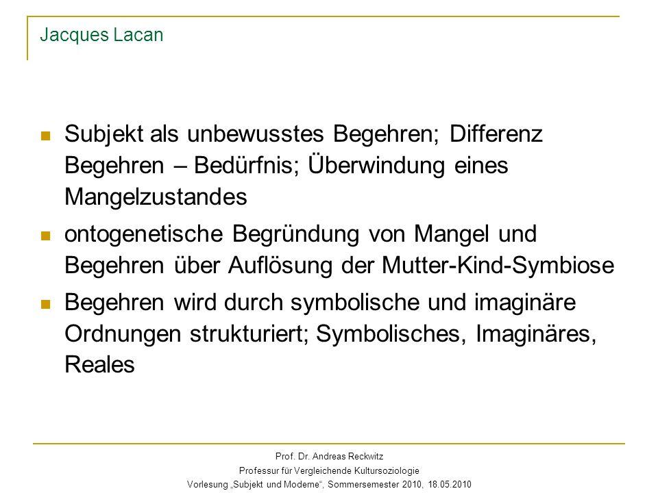 Jacques Lacan Symbolisches: Zeichensysteme und Zeichenkette, differenzielle Sequenzen Imaginäres: Einheitsfiktionen Das Spiegelstadium als Bilder der Ich-Funktion (1949): das fragmentierte Subjekt identifiziert sich mit einem Bild als ideale, perfekte Einheit Begriffe der Identifizierung und des Ideal-Ich das Reale: der psychische Rest; Symptome Prof.