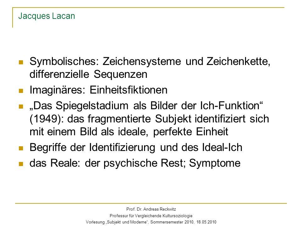 Jacques Lacan Symbolisches: Zeichensysteme und Zeichenkette, differenzielle Sequenzen Imaginäres: Einheitsfiktionen Das Spiegelstadium als Bilder der