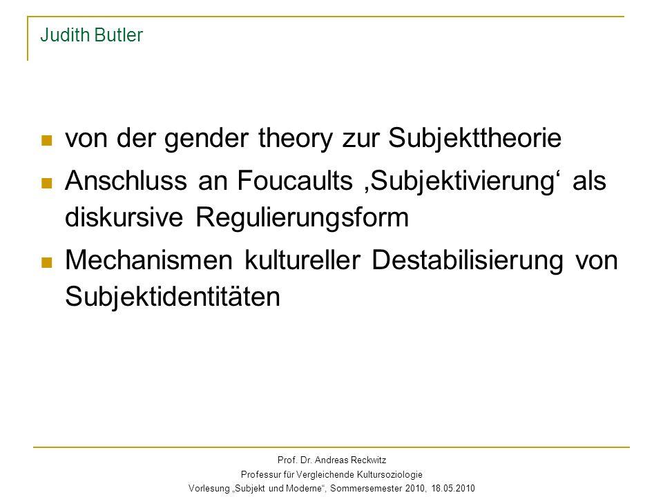 Judith Butler Dekonstruktion der sex-gender- Unterscheidung sex-gender-desire insgesamt als kulturelle Matrix westlicher Geschlechterordnung Unterscheidung natürliches – soziales Geschlecht selbst als kulturelle Unterscheidung; Naturalisierungsdiskurse Prof.