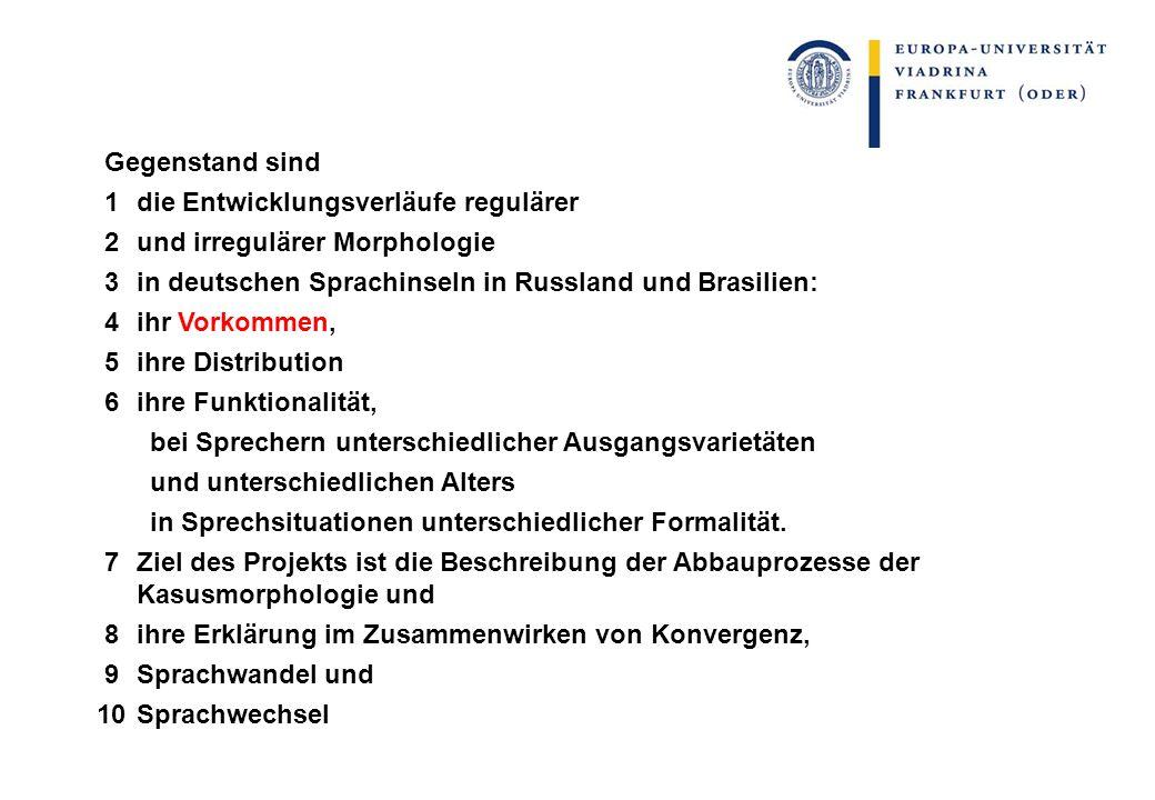 Gegenstand sind 1die Entwicklungsverläufe regulärer 2und irregulärer Morphologie 3in deutschen Sprachinseln in Russland und Brasilien: 4ihr Vorkommen,