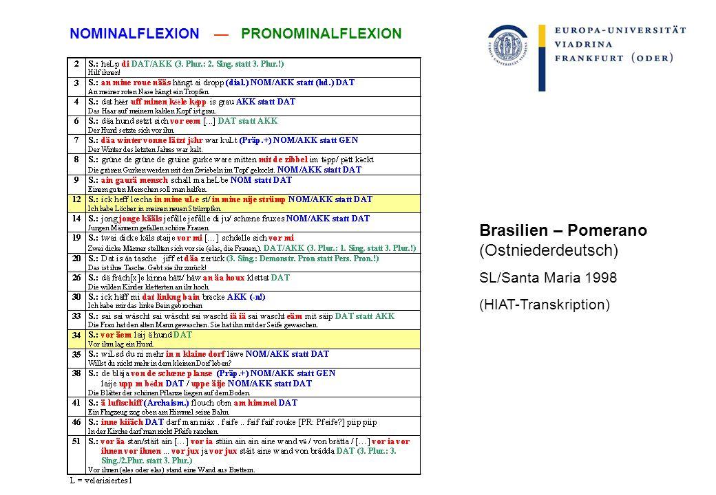 Brasilien – Pomerano (Ostniederdeutsch) SL/Santa Maria 1998 (HIAT-Transkription) NOMINALFLEXION PRONOMINALFLEXION