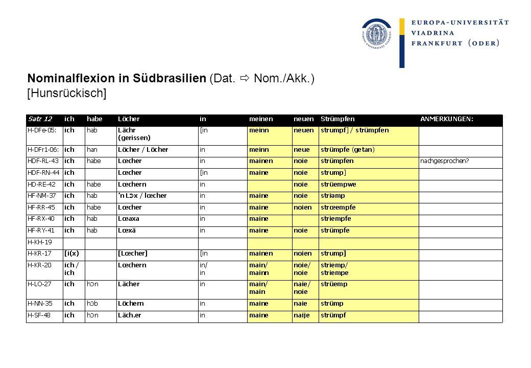 Nominalflexion in Südbrasilien (Dat. Nom./Akk.) [Hunsrückisch]