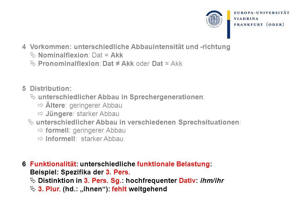 4 Vorkommen: unterschiedliche Abbauintensität und -richtung Nominalflexion: Dat = Akk Pronominalflexion: Dat Akk oder Dat = Akk 5 Distribution: unters