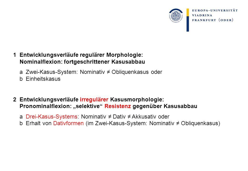 1 Entwicklungsverläufe regulärer Morphologie: Nominalflexion: fortgeschrittener Kasusabbau a Zwei-Kasus-System: Nominativ Obliquenkasus oder b Einheit