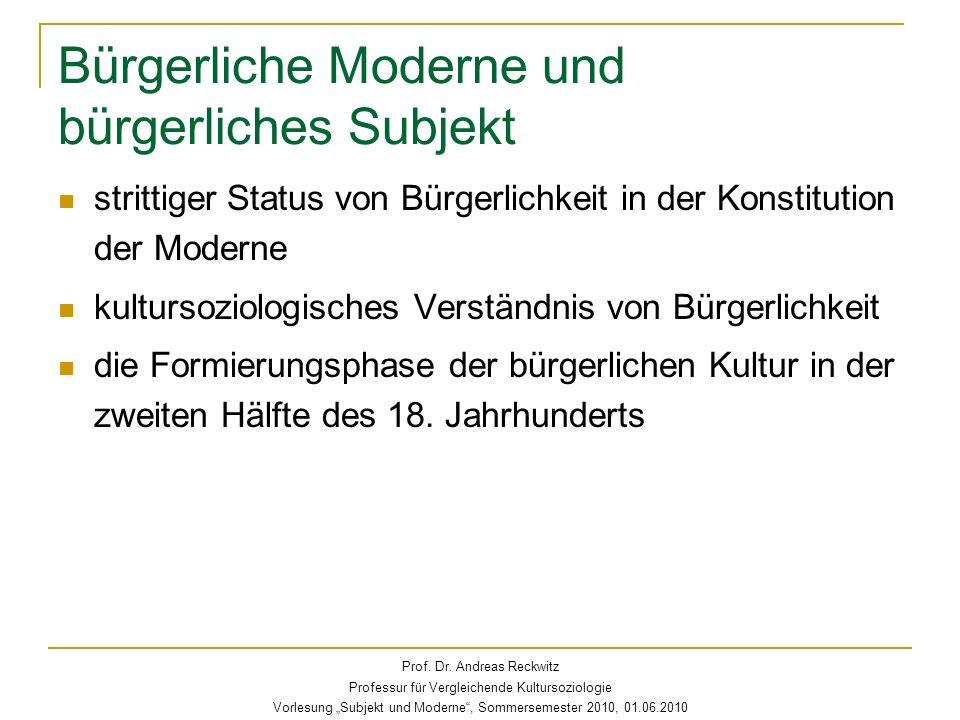Bürgerliche Moderne und bürgerliches Subjekt strittiger Status von Bürgerlichkeit in der Konstitution der Moderne kultursoziologisches Verständnis von