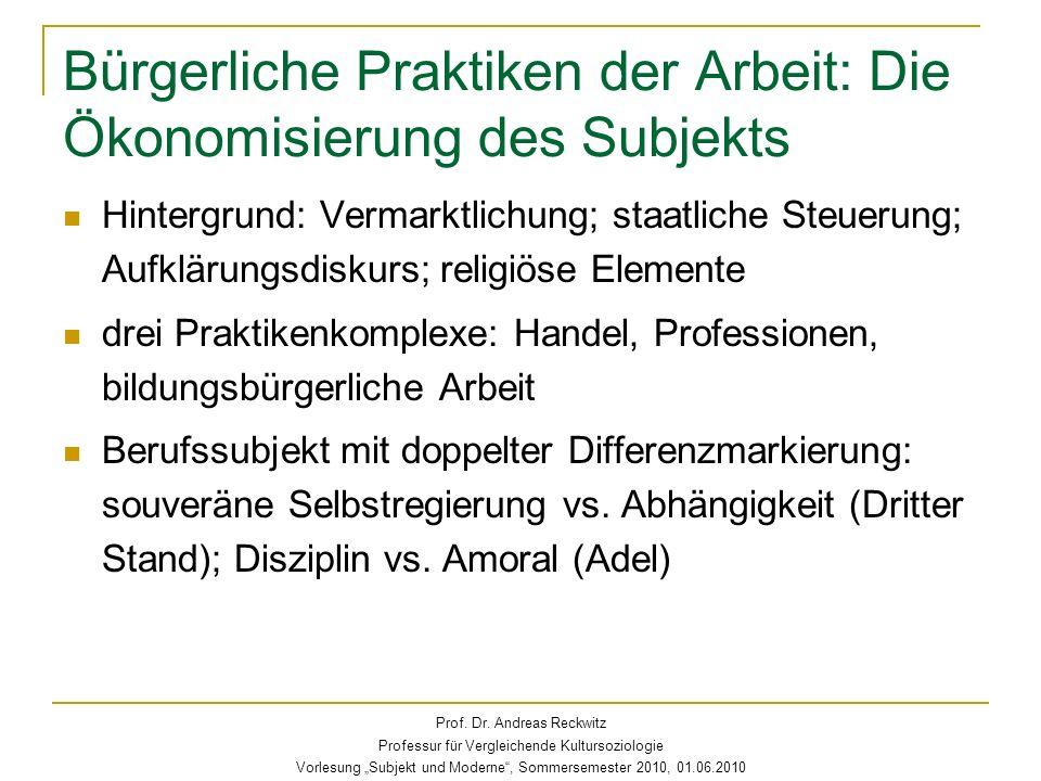 Bürgerliche Praktiken der Arbeit: Die Ökonomisierung des Subjekts Hintergrund: Vermarktlichung; staatliche Steuerung; Aufklärungsdiskurs; religiöse El