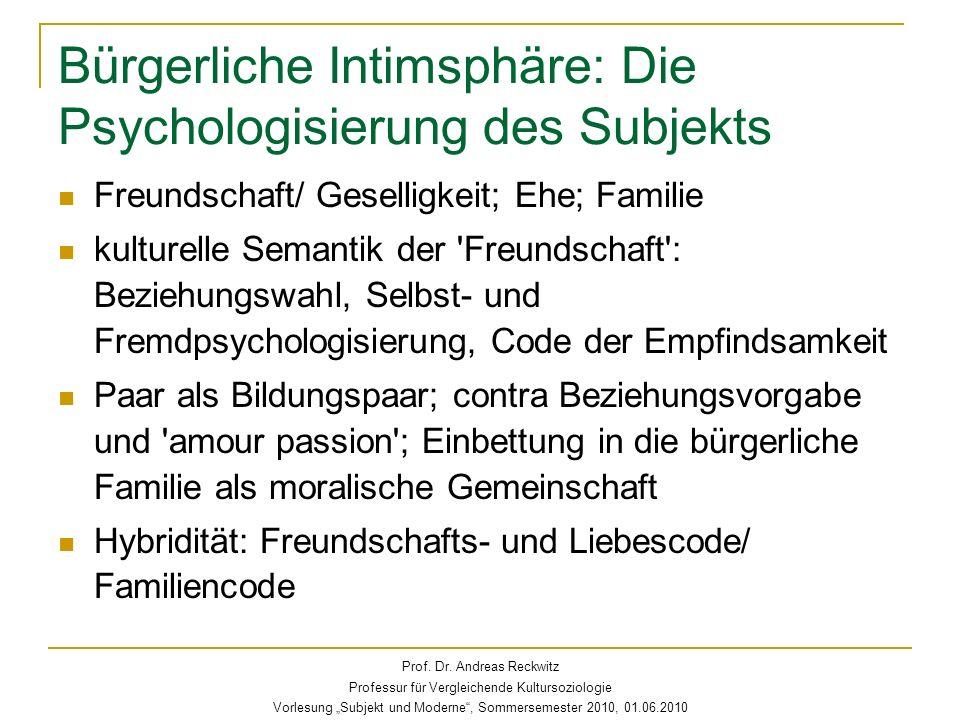Bürgerliche Intimsphäre: Die Psychologisierung des Subjekts Freundschaft/ Geselligkeit; Ehe; Familie kulturelle Semantik der 'Freundschaft': Beziehung