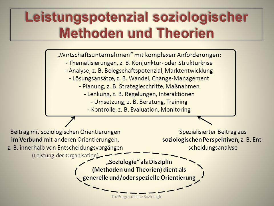 To/Pragmatische Soziologie Wirtschaftsunternehmen mit komplexen Anforderungen: - Thematisierungen, z. B. Konjunktur- oder Strukturkrise - Analyse, z.