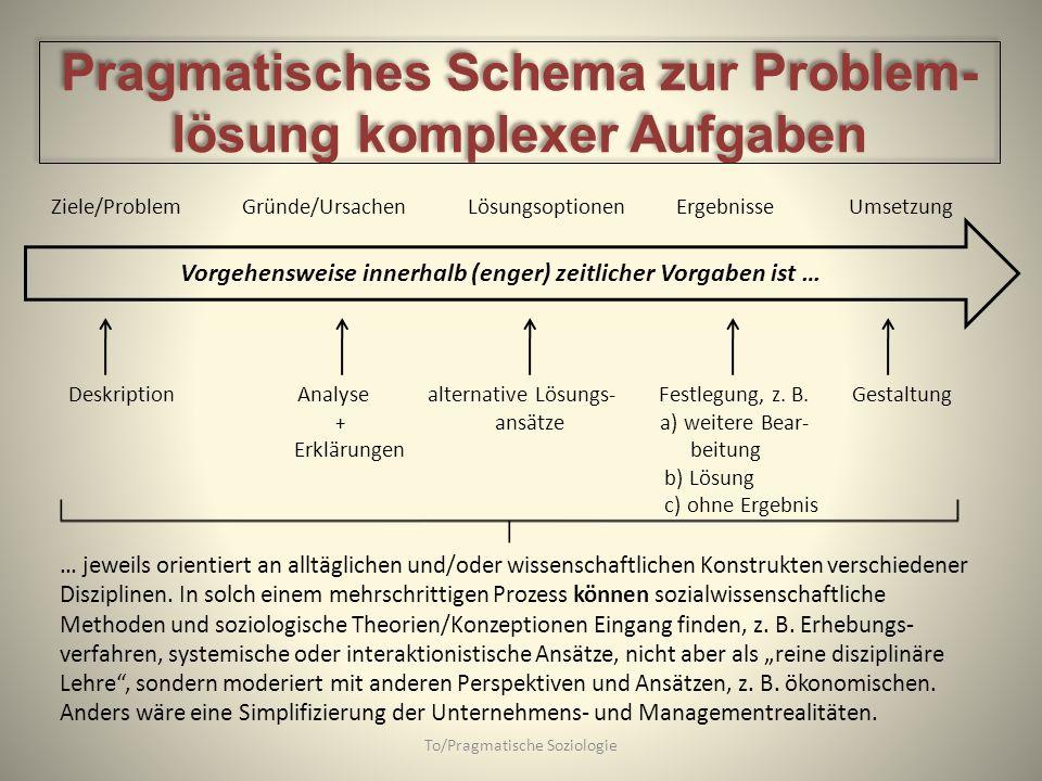 To/Pragmatische Soziologie Vorgehensweise innerhalb (enger) zeitlicher Vorgaben ist … Ziele/Problem Gründe/UrsachenLösungsoptionenErgebnisse Umsetzung