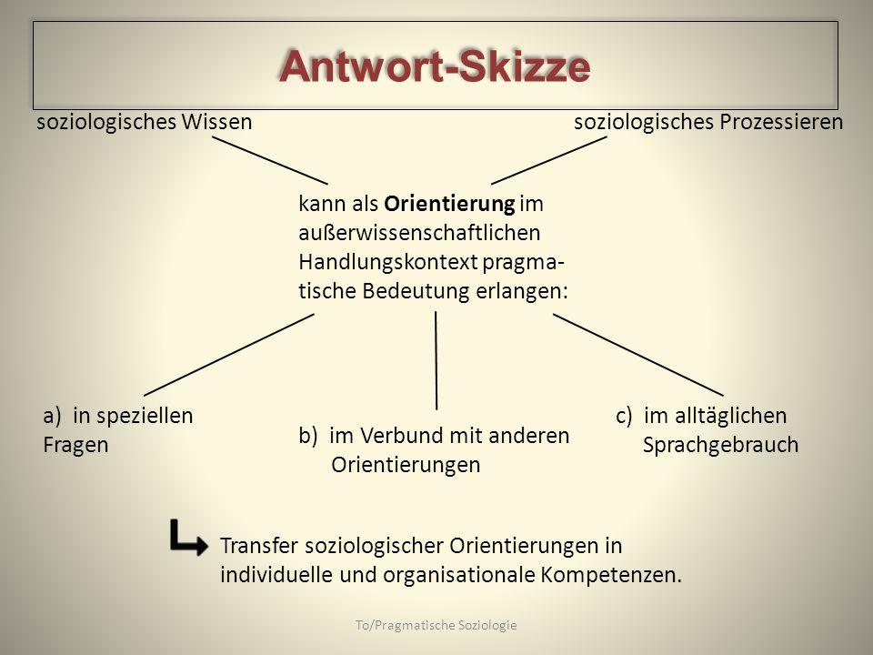 soziologisches Wissen soziologisches Prozessieren To/Pragmatische Soziologie kann als Orientierung im außerwissenschaftlichen Handlungskontext pragma-