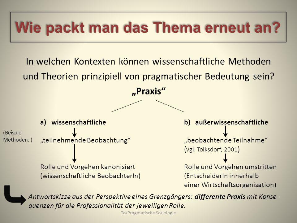 In welchen Kontexten können wissenschaftliche Methoden und Theorien prinzipiell von pragmatischer Bedeutung sein? Praxis a)wissenschaftliche teilnehme
